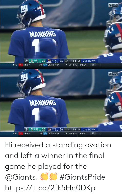 Game: Eli received a standing ovation and left a winner in the final game he played for the @Giants. 👏👏 #GiantsPride https://t.co/2fk5Hn0DKp