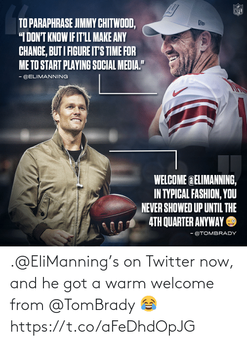 warm: .@EliManning's on Twitter now, and he got a warm welcome from @TomBrady 😂 https://t.co/aFeDhdOpJG