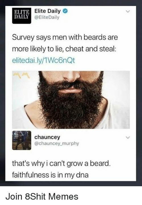 Chauncey: ELITE  DA  Elite Daily  @EliteDaily  Survey says men with beards are  more likely to lie, cheat and steal:  elitedai.ly/1Wc6nQt  chauncey  @chauncey murphy  that's why i can't grow a beard  faithfulness is in my dna Join 8Shit Memes