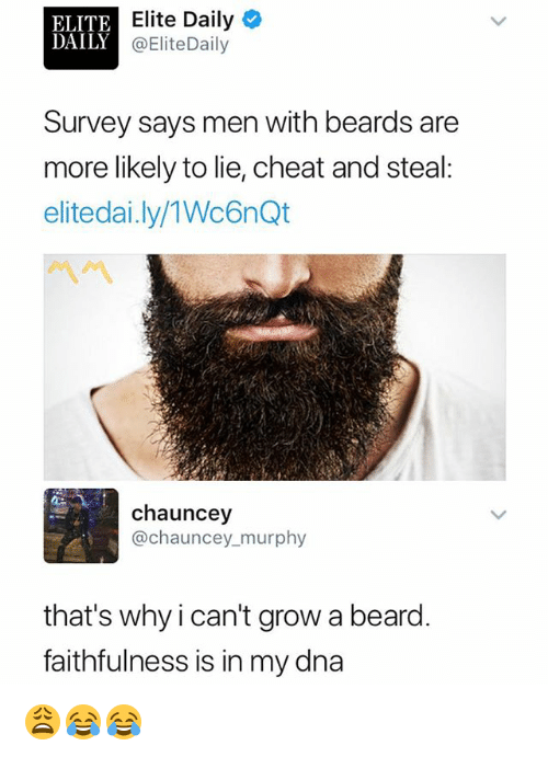 Chauncey: ELITE  DAILY  Elite Daily  @EliteDaily  Survey says men with beards are  more likely to lie, cheat and steal:  elitedai.ly/1Wc6nQt  chauncey  @chauncey murphy  that's why ican't grow a beard  faithfulness is in my dna 😩😂😂