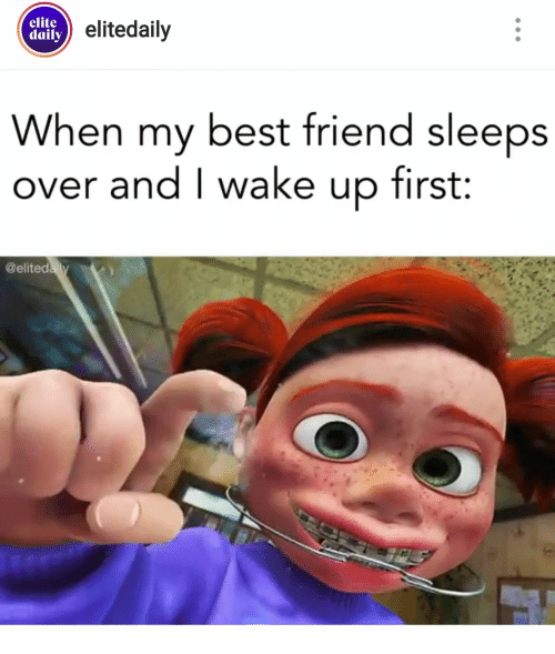 Best Friend, Best, and Friend: elite  daily elitedaily  When my best friend sleeps  over and I wake up first:  @elitedaly