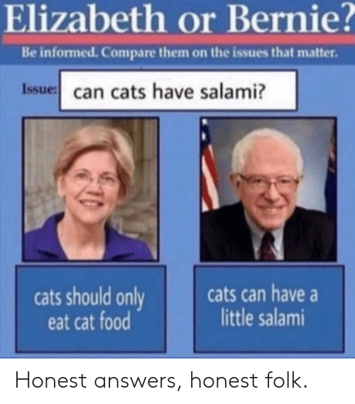 cat food: Elizabeth or Bernie?  Be informed. Compare them on the issues that matter.  Issue can cats have salami?  cats can have  little salami  cats should only  eat cat food Honest answers, honest folk.