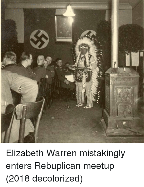 Elizabeth Warren: Elizabeth Warren mistakingly enters Rebuplican meetup (2018 decolorized)