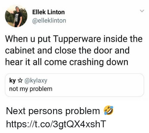 Close The Door: Ellek Linton  @elleklinton  When u put Tupperware inside the  cabinet and close the door and  hear it all come crashing down  ky @kylaxy  not my problem Next persons problem 🤣 https://t.co/3gtQX4xshT