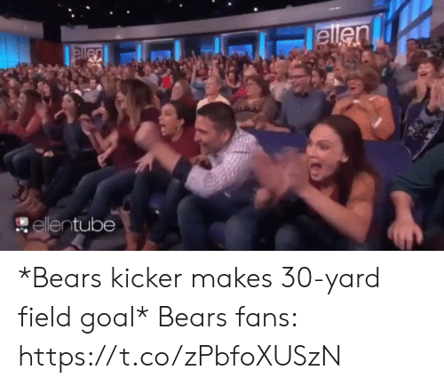 Football, Nfl, and Sports: ellen  elen  ellentube *Bears kicker makes 30-yard field goal*   Bears fans: https://t.co/zPbfoXUSzN