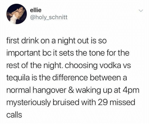 Missed Calls: ellie  @holy_schnitt  first drink on a night out is so  important bc it sets the tone for the  rest of the night. choosing vodka vs  tequila is the difference between a  normal hangover & waking up at 4pm  mysteriously bruised with 29 missed  calls