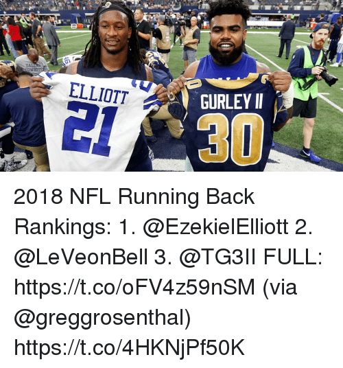 Memes, Nfl, and Running: ELLIOTT  GURLEY I  31 2018 NFL Running Back Rankings:  1. @EzekielElliott 2. @LeVeonBell 3. @TG3II FULL: https://t.co/oFV4z59nSM (via @greggrosenthal) https://t.co/4HKNjPf50K