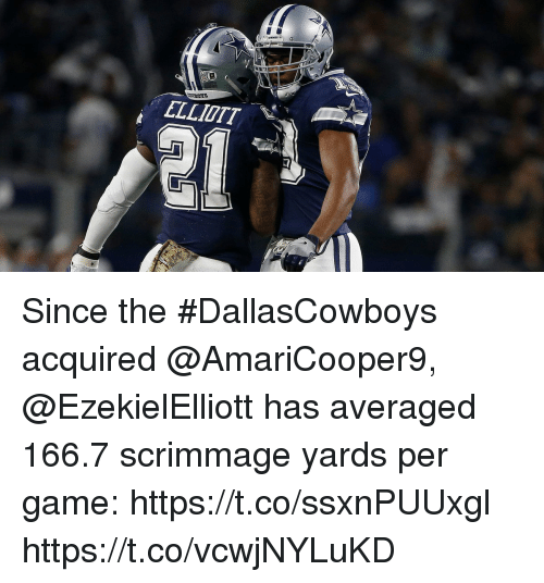 Memes, Game, and 🤖: ELLIOTT Since the #DallasCowboys acquired @AmariCooper9, @EzekielElliott has averaged 166.7 scrimmage yards per game: https://t.co/ssxnPUUxgl https://t.co/vcwjNYLuKD