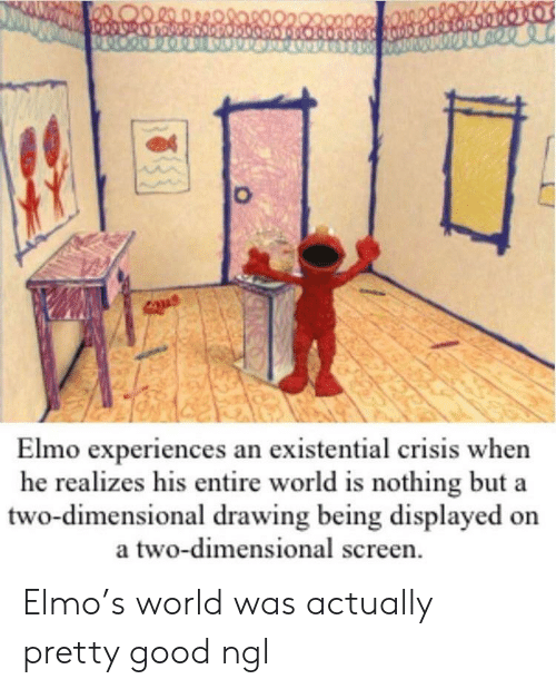 Experiences: Elmo experiences an existential crisis when  he realizes his entire world is nothing but a  two-dimensional drawing being displayed on  a two-dimensional screen Elmo's world was actually pretty good ngl
