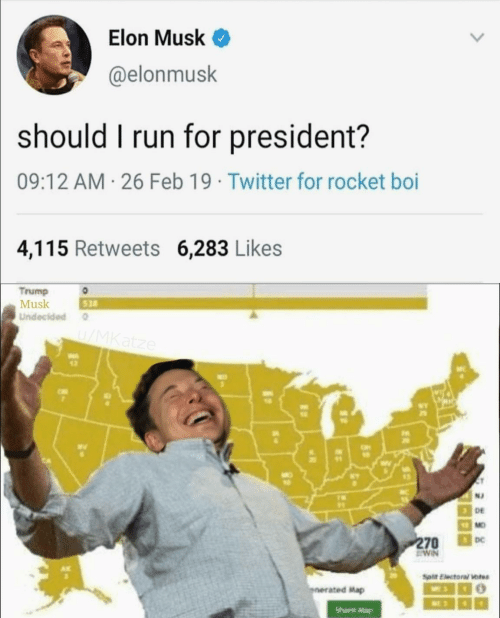 mag: Elon Musk <  @elonmusk  should I run for president?  09:12 AM 26 Feb 19 Twitter for rocket boi  4,115 Retweets 6,283 Likes  Trump  Musk  Undecided  528  wv  12  N2  DE  MO  DC  ated Map  Share Mag