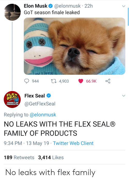 Family, Flexing, and Twitter: Elon Musk@elonmusk 22h  GoT season finale leaked  944 4,903 66.9K Ç  Flex Seal  FLEX  @GetFlexSeal  FAMILY OF  PRODUCTS  Replying to @elonmusk  NO LEAKS WITH THE FLEX SEAL®  FAMILY OF PRODUCTS  9:34 PM 13 May 19 Twitter Web Client  189 Retweets 3,414 Likes No leaks with flex family