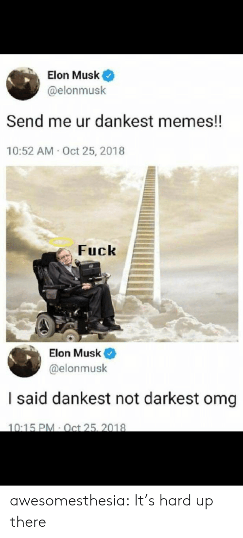 Its Hard: Elon Musk  @elonmusk  Send me ur dankest memes!!  10:52 AM Oct 25, 2018  Fuck  Elon Musk  @elonmusk  I said dankest not darkest omg  10:15 PM Oct 25, 2018 awesomesthesia:  It's hard up there