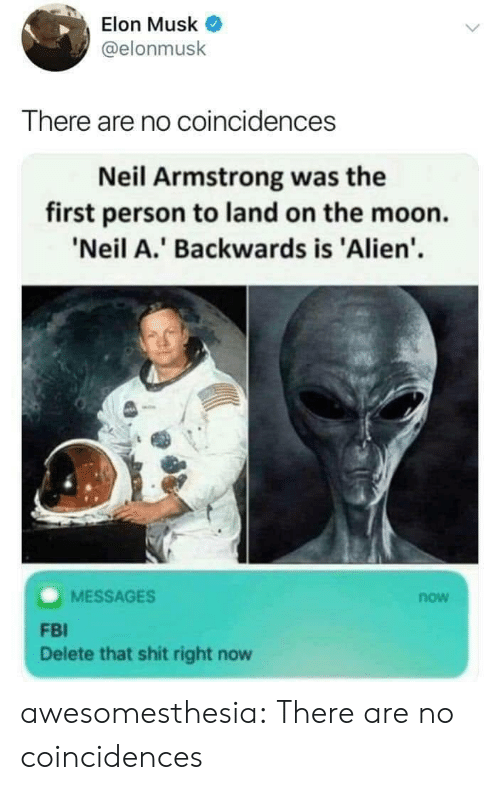 Fbi, Shit, and Tumblr: Elon Musk  @elonmusk  There are no coincidences  Neil Armstrong was the  first person to land on the moon.  'Neil A.' Backwards is 'Alien'  MESSAGES  now  FBI  Delete that shit right now awesomesthesia:  There are no coincidences