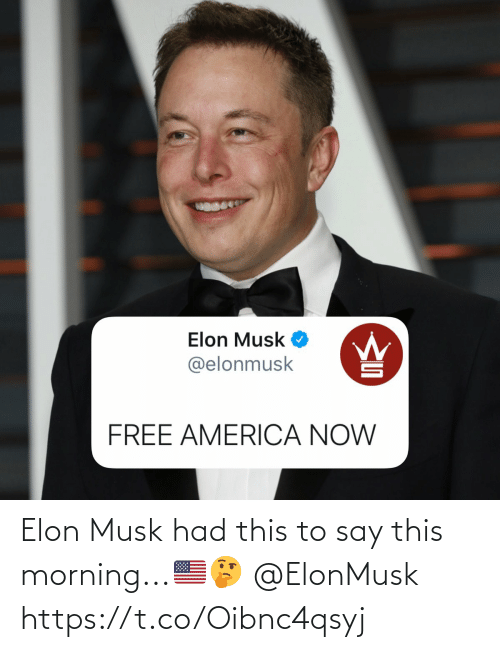 this morning: Elon Musk had this to say this morning...🇺🇸🤔 @ElonMusk https://t.co/Oibnc4qsyj