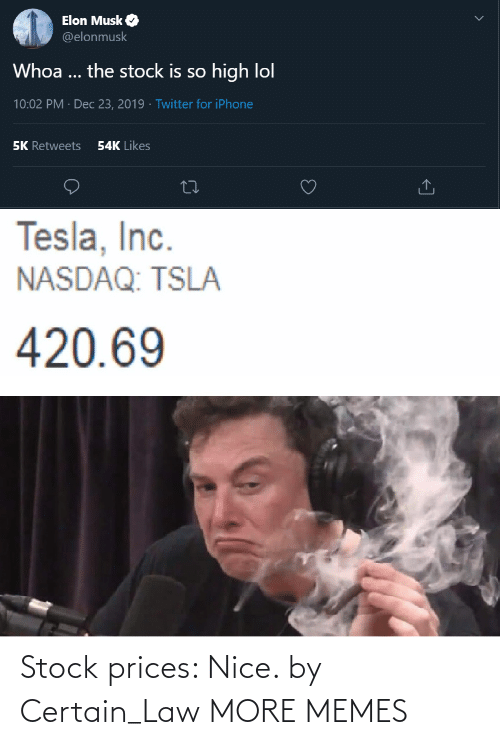 420: Elon Musk O  @elonmusk  Whoa ... the stock is so high lol  10:02 PM · Dec 23, 2019 · Twitter for iPhone  54K Likes  5K Retweets  Tesla, Inc.  NASDAQ: TSLA  420.69 Stock prices: Nice. by Certain_Law MORE MEMES