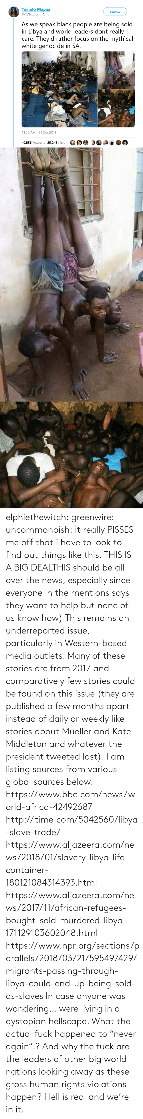 "everyone: elphiethewitch: greenwire:  uncommonbish:  it really PISSES me off that i have to look to find out things like this. THIS IS A BIG DEALTHIS should be all over the news, especially since everyone in the mentions says they want to help but none of us know how)  This remains an underreported issue, particularly in Western-based media outlets. Many of these stories are from 2017 and comparatively few stories could be found on this issue (they are published a few months apart instead of daily or weekly like stories about Mueller and Kate Middleton and whatever the president tweeted last). I am listing sources from various global sources below.  https://www.bbc.com/news/world-africa-42492687 http://time.com/5042560/libya-slave-trade/ https://www.aljazeera.com/news/2018/01/slavery-libya-life-container-180121084314393.html https://www.aljazeera.com/news/2017/11/african-refugees-bought-sold-murdered-libya-171129103602048.html https://www.npr.org/sections/parallels/2018/03/21/595497429/migrants-passing-through-libya-could-end-up-being-sold-as-slaves   In case anyone was wondering… were living in a dystopian hellscape.  What the actual fuck happened to ""never again""!? And why the fuck are the leaders of other big world nations looking away as these gross human rights violations happen?  Hell is real and we're in it."
