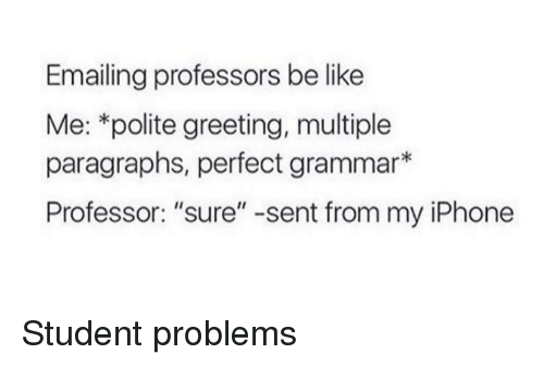 "Paragraphs: Emailing professors be like  Me: *polite greeting, multiple  paragraphs, perfect grammar*  Professor: ""sure"" -sent from my iPhone Student problems"