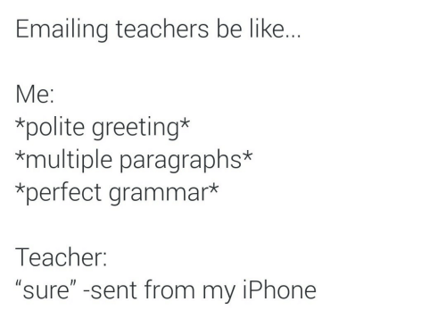 "Paragraphs: Emailing teachers be like..  Мe:  *polite greeting*  *multiple paragraphs*  *perfect grammar*  Тeacher:  ""sure"" -sent from my iPhone"