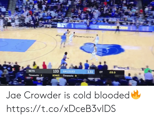Nets: eME  Fed  133 GRIZZLIES  131  :03.0  от  NETS  BONUS Timeouts: O  Timeouts: 1 Jae Crowder is cold blooded🔥 https://t.co/xDceB3vlDS