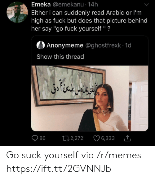 "Arabic: Emeka @emekanu 14h  Either i can suddenly read Arabic or I'm  high as fuck but does that picture behind  her say ""go fuck yourself"" ?  Anonymeme @ghostfrexk 1d  Show this thread  ال ا متن دق  L12,272  86  6,333 Go suck yourself via /r/memes https://ift.tt/2GVNNJb"