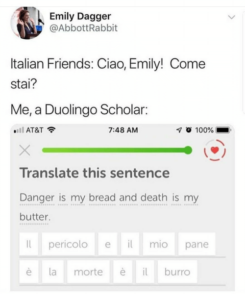 Anaconda, Friends, and At&t: Emily Dagger  @AbbottRabbit  Italian Friends: Ciao, Emily! Come  stai?  Me, a Duolingo Scholar:  AT&T  7:48 AM  1 100%  Translate this sentence  Danger is my bread and death is my  butter  pericolo ei mio pane  è lamorte  burro