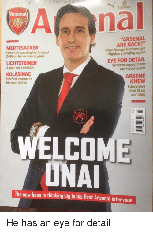 """Arsenal, Facepalm, and Guns: Emirates  Arsenal  """"ARSENAL  MERTESACKER  How he's passing his Arsenal  DNA on to our young guns  ARE BACK!""""  How George Graham got  Highbury singing again  LICHTSTEINER  A man on a mission  EYE FOR DETAIL  What to expect fronm  our head coach  KOLASINAC  His first season in  his own words  ARSÈNE  KNEW  that lit up  our mag  WELCOM  ONA  The new boss is thinking big in his first Arsenal interview"""