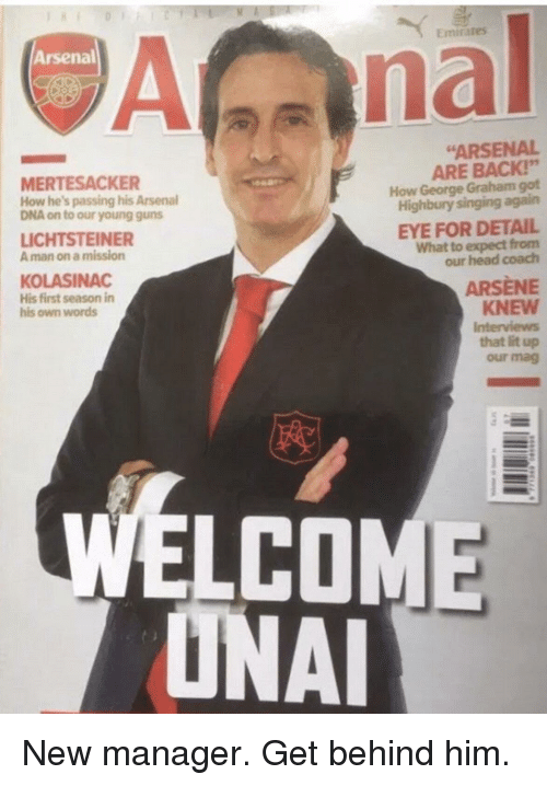 """Arsenal, Funny, and Guns: Emirates  Arsenal  nal  MERTESACKER  How he's passing his Arsenal  DNA on to our young guns  """"ARSENAL  ARE BACK!""""  How George Graham got  Highbury singing again  LICHTSTEINER  A man on a mission  EYE FOR DETAIL  What to expect from  our head coach  KOLASINAC  His first season in  his own words  ARSENE  KNEW  Interviews  that lit up  our mag  ELCOME  ONAL"""