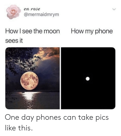 Dank, Phone, and Moon: en rose  @mermaidmrym  How l see the moon  sees it  How my phone One day phones can take pics like this.