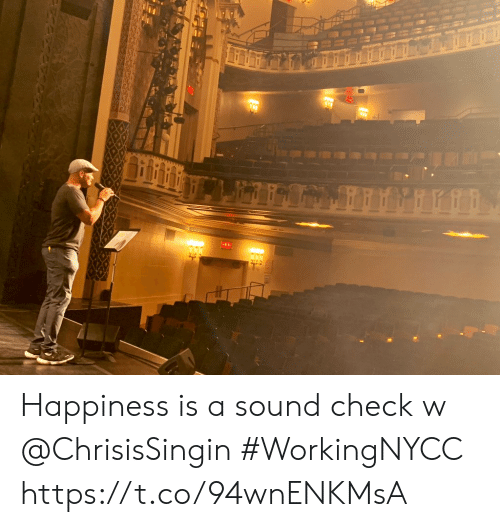 Memes, Happiness, and 🤖: ENC Happiness is a sound check w @ChrisisSingin #WorkingNYCC https://t.co/94wnENKMsA