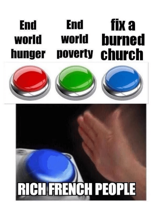 Church, Memes, and World: End End fix a  world Wworld burned  hunger poverty church  RICH FRENCH PEOPLE