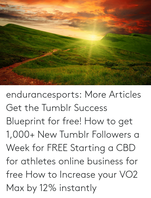 Business: endurancesports: More Articles Get the Tumblr Success Blueprint for free!  How to get 1,000+ New Tumblr Followers a Week for FREE Starting a CBD for athletes online business for free How to Increase your VO2 Max by 12% instantly