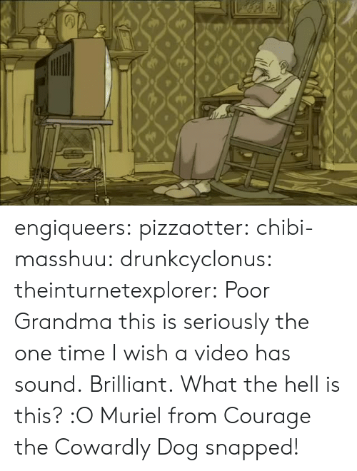 Courage the Cowardly Dog, Grandma, and Tumblr: engiqueers:  pizzaotter:  chibi-masshuu:  drunkcyclonus:  theinturnetexplorer:  Poor Grandma  this is seriously the one time I wish a video has sound.  Brilliant.  What the hell is this? :O   Muriel from Courage the Cowardly Dog snapped!