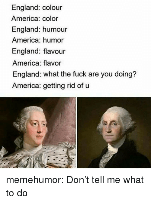 America, England, and Tumblr: England: colour  America: color  England: humour  America: humor  England: flavour  America: flavor  England: what the fuck are you doing?  America: getting rid of u memehumor:  Don't tell me what to do