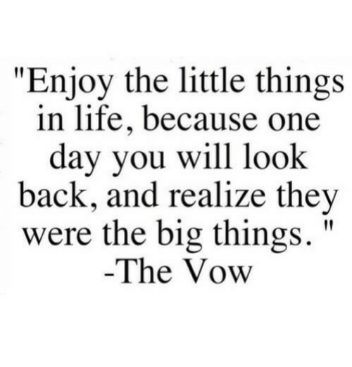 """Life, The Vow, and Back: """"Enjoy the little things  in life, because one  day you will look  back, and realize they  were the big things.""""  The Vow"""