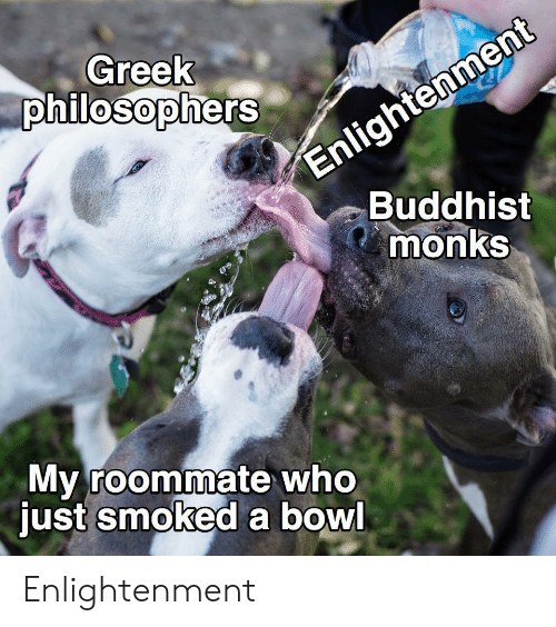 Greek: Enlightenment  Buddhist  monks  Greek  philosophers  My roommate who  just smoked a bowl Enlightenment