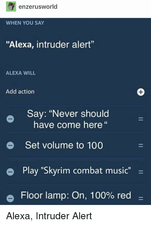 """Anaconda, Music, and Skyrim: enzerusworld  WHEN YOU SAY  """"Alexa, intruder alert""""  ALEXA WILL  Add action  Say: """"Never should  have come here""""  e Set volume to 100  e  Play """"Skyrim combat music -  Floor lamp: On, 100% red- Alexa, Intruder Alert"""