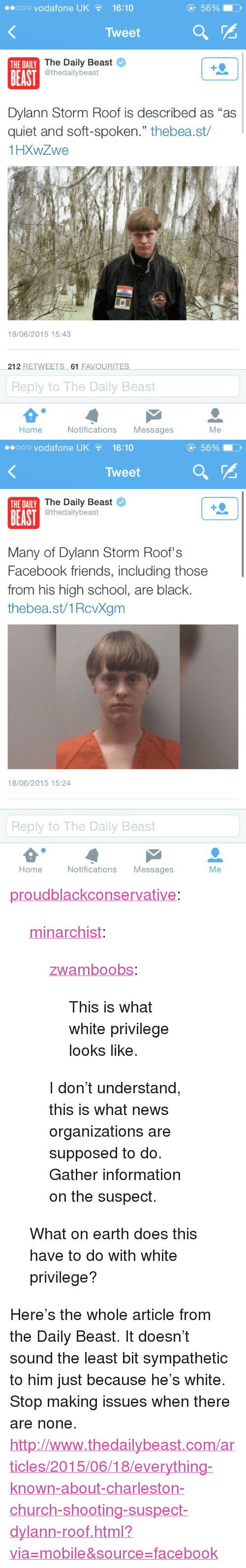 "Church, Facebook, and Friends: eooo vodafone UK16:10  5690  Tweet  The Daily Beast  @thedailybeast  THE DAILY  BEAST  Dylann Storm Roof is described as ""as  quiet and soft-spoken."" thebea.st/  1HXWZwe  18/06/2015 15:43  212 RETWEETS 61 FAVOURITES  Reply to The Daily Beast  Home  Notifications Messages  Me   ..ooo vodafone UK  16:10  5690  Tweet  The Daily Beast  @thedailybeast  THE DAILY  BEAST  Many of Dylann Storm Roof's  Facebook friends, including those  from his high school, are black.  thebea.st/1RcvXgm  18/06/2015 15:24  Reply to The Daily Beast  Home  Notifications Messages  Me <p><a class=""tumblr_blog"" href=""http://proudblackconservative.tumblr.com/post/121848653839/minarchist-zwamboobs-this-is-what-white"">proudblackconservative</a>:</p>  <blockquote><p><a class=""tumblr_blog"" href=""http://minarchist.tumblr.com/post/121847656894/zwamboobs-this-is-what-white-privilege-looks"">minarchist</a>:</p>  <blockquote><p><a class=""tumblr_blog"" href=""http://zwamboobs.tumblr.com/post/121841004836/this-is-what-white-privilege-looks-like"">zwamboobs</a>:</p>  <blockquote><p>This is what white privilege looks like.</p></blockquote>  <p>I don't understand, this is what news organizations are supposed to do. Gather information on the suspect.</p></blockquote>  <p>What on earth does this have to do with white privilege?<br/></p></blockquote>  <p>Here's the whole article from the Daily Beast. It doesn&rsquo;t sound the least bit sympathetic to him just because he's white. Stop making issues when there are none. <a href=""http://www.thedailybeast.com/articles/2015/06/18/everything-known-about-charleston-church-shooting-suspect-dylann-roof.html?via=mobile&amp;source=facebook"">http://www.thedailybeast.com/articles/2015/06/18/everything-known-about-charleston-church-shooting-suspect-dylann-roof.html?via=mobile&amp;source=facebook</a><br/></p>"