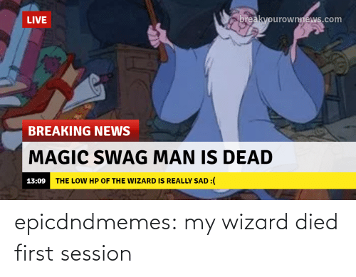 tumblr blog: epicdndmemes:  my wizard died first session