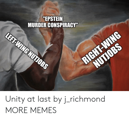 """richmond: """"EPSTEIN  MURDER CONSPIRACY""""  LEFT-WING NUTIOBS  RIGHT-WING  NUTJOBS Unity at last by j_richmond MORE MEMES"""