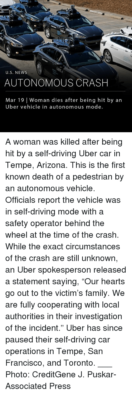 """Driving, Family, and Memes: ER  U.S. NEWs  AUTONOMOUS CRASH  Mar 19 