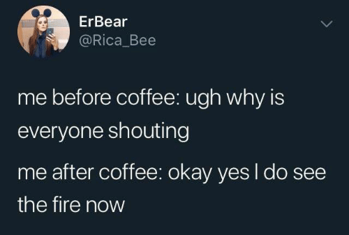 shouting: ErBear  @Rica_Bee  me before coffee: ugh why is  everyone shouting  me after coffee: okay yes I do see  the fire now