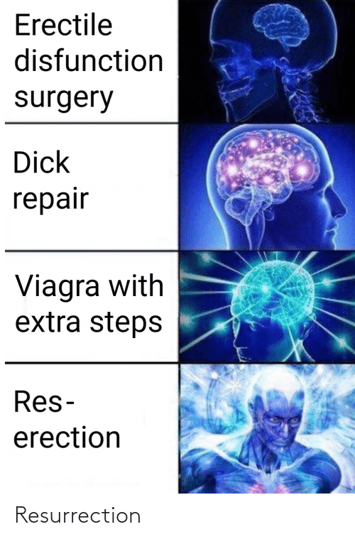 extra: Erectile  disfunction  surgery  Dick  repair  Viagra with  extra steps  Res-  erection Resurrection