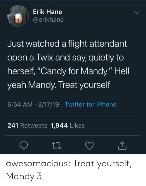 "Candy, Iphone, and Tumblr: Erik Hane  @erikhane  Just watched a flight attendant  open a Twix and say, quietly to  herself, ""Candy for Mandy."" Hell  yeah Mandy. Treat yourself  6:54 AM 3/17/19 Twitter for iPhone  241 Retweets 1,944 Likes awesomacious:  Treat yourself, Mandy 3"