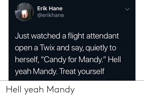 "Candy, Yeah, and Flight: Erik Hane  @erikhane  Just watched a flight attendant  open a Twix and say, quietly to  herself, ""Candy for Mandy."" Hell  yeah Mandy. Treat yourself Hell yeah Mandy"