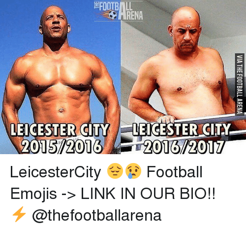 Leicester City: EROOTB  LEICESTER CITY  LEICESTER CITY  015/2016 2016/2017 LeicesterCity 😔😢 Football Emojis -> LINK IN OUR BIO!! ⚡️ @thefootballarena