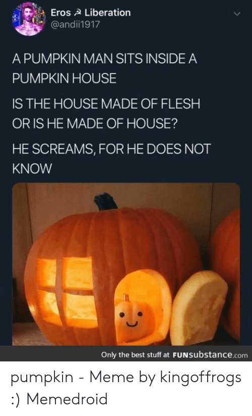 Pumpkin Meme: Eros A Liberation  @andí门917  A PUMPKIN MAN SITS INSIDE A  PUMPKIN HOUSE  IS THE HOUSE MADE OF FLESH  OR IS HE MADE OF HOUSE?  HE SCREAMS, FOR HE DOES NOT  KNOW  Only the best stuff at FUNsubstance.com pumpkin - Meme by kingoffrogs :) Memedroid
