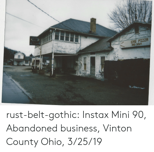 abandoned: ERS PIZZA rust-belt-gothic:  Instax Mini 90, Abandoned business, Vinton County Ohio, 3/25/19