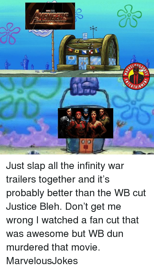 Memes, Infinity, and Justice: ERTA Just slap all the infinity war trailers together and it's probably better than the WB cut Justice Bleh. Don't get me wrong I watched a fan cut that was awesome but WB dun murdered that movie. MarvelousJokes