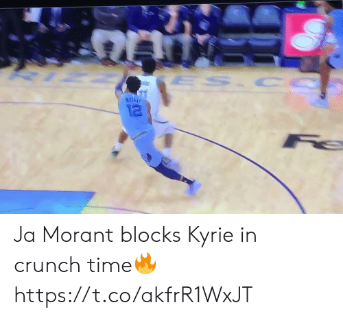 kyrie: ES CO  12 Ja Morant blocks Kyrie in crunch time🔥 https://t.co/akfrR1WxJT