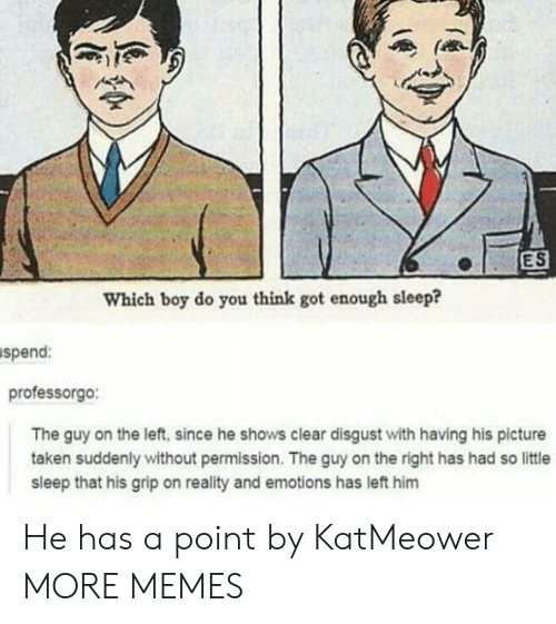 Dank, Memes, and Taken: ES  Which boy do you think got enough sleep?  spend:  professorgo:  The guy on the left, since he shows clear disgust with having his picture  taken suddenly without permission. The guy on the right has had so little  sleep that his grip on reality and emotions has left him He has a point by KatMeower MORE MEMES